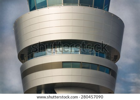 Traffic control rings of airport control tower closeup - stock photo