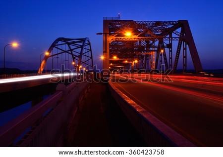 Traffic Crossing Bridges at Night in La Crosse, Wisconsin - stock photo