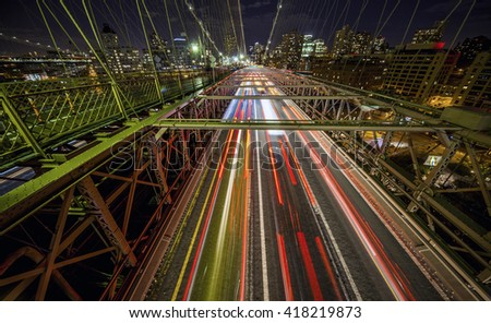 Traffic crossing the Brooklyn Bridge in New York