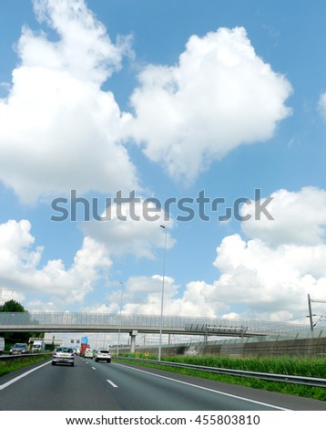 Traffic free on the highway in the Beautiful sunny and blue sky day, The Netherlands - stock photo