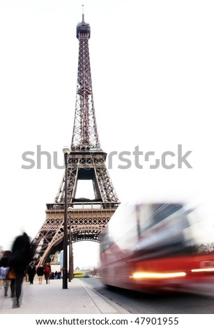 traffic front of the eiffel tower - stock photo