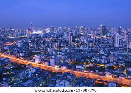 Traffic in Bangkok at twilight