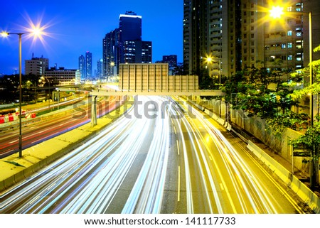 traffic in city at night