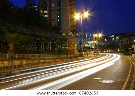 Traffic in city freeway at night