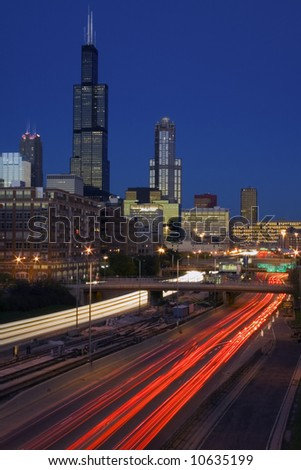 Traffic in Downtown Chicago - stock photo