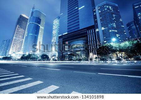 traffic in guangzhou at night,china - stock photo