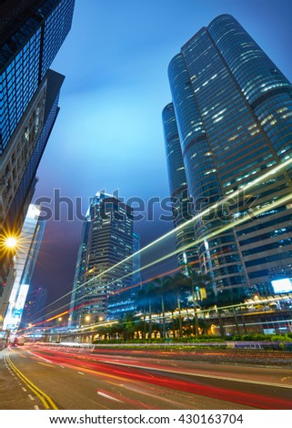 Traffic in Hong Kong after sunset - stock photo