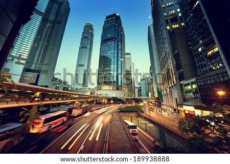 traffic in Hong Kong at sunset time  - stock photo