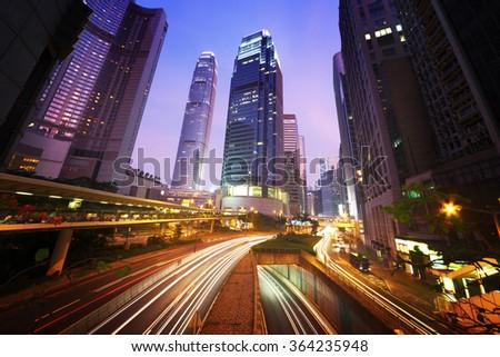 traffic in Hong Kong at sunset time  - stock photo