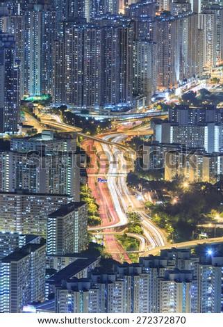 Traffic in Hong Kong City at Night - stock photo