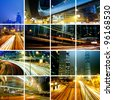 traffic in modern city at night - stock photo