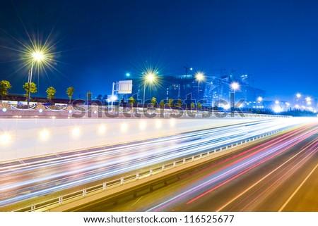 traffic in the city at night