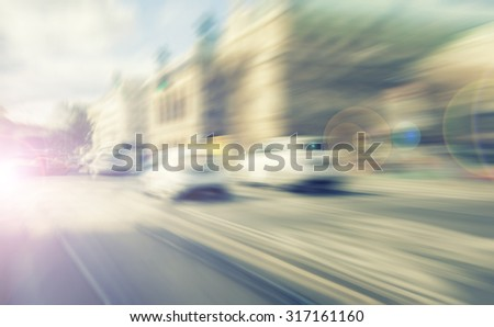 traffic in the city blurred motion - stock photo
