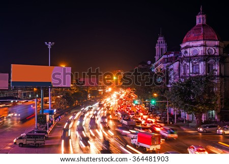 Traffic in Yangon Myanmar at night