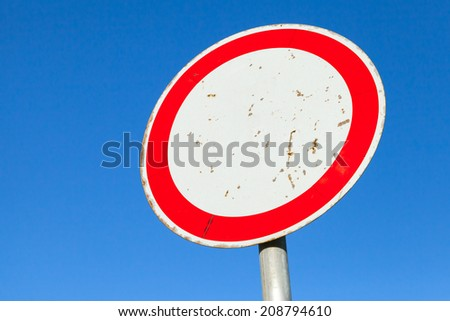 Traffic is prohibited, road sign above blue sky - stock photo