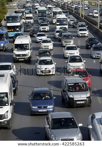 Traffic jam at the highway in Istanbul. 3 million 650 thousand car have registered to Istanbul traffic, Istanbul, Turkey, 18 May 2016.