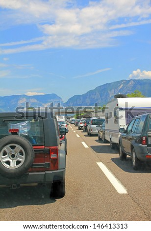 traffic jam at the main travel time in a southward direction, europe