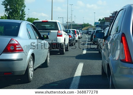 traffic jam during rush hour - stock photo