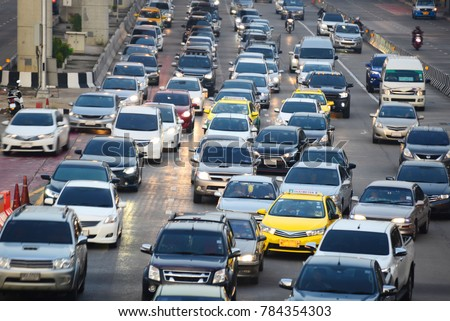 traffic jam in Bangkok, Thailand, on motion blurred