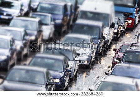 Traffic jam in Hamburg, Germany - stock photo