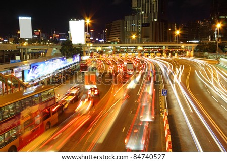 Traffic jam in Hong Kong outside the tunnel - stock photo