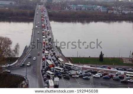 Traffic jam in Nizhny Novgorod city, Russia - stock photo