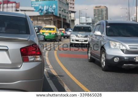 traffic jam in rush hour, Bangkok, Thailand - stock photo