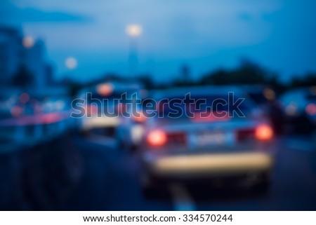 traffic jam in rush hour on express way, Bangkok, Thailand - stock photo