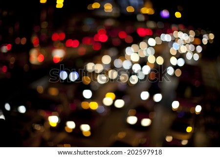 traffic jam lights on road - stock photo