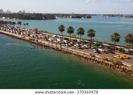 Traffic jam on a highway dam in Miami, FL, USA. - stock photo
