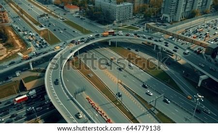 Traffic jam on city highway interchange, Moscow. Aerial shot