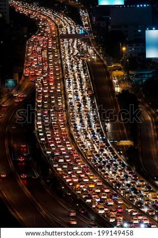 Traffic jam on express way Bangkok, Thailand  - stock photo