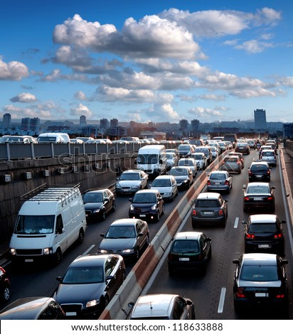 Traffic jam. Rush hour. Cars. Urban scene. - stock photo