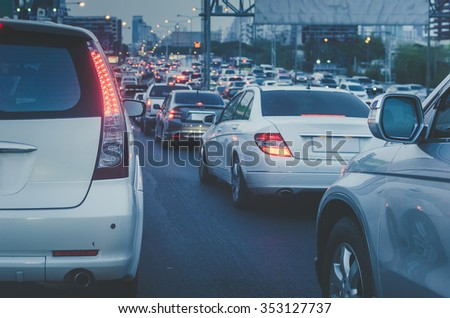traffic jam with row of car on express way before night - vintage style picture