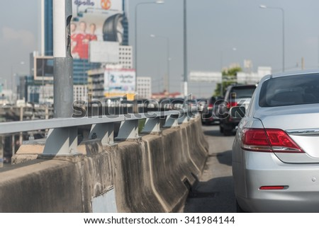 traffic jam with row of cars on express way in Bangkok - stock photo