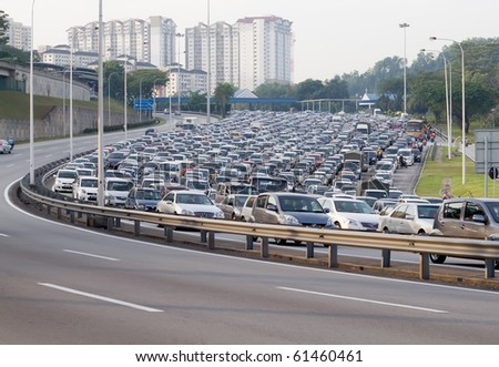 traffic jammed in malaysia - stock photo