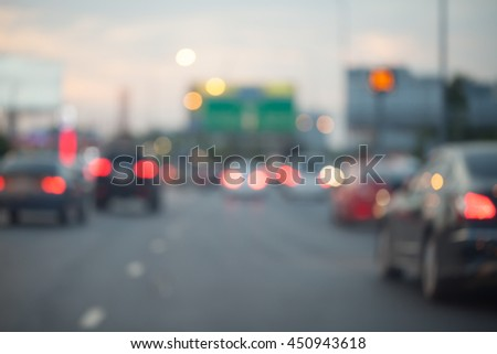 Traffic jams in the city - rush hour softfocus and over blurry - stock photo