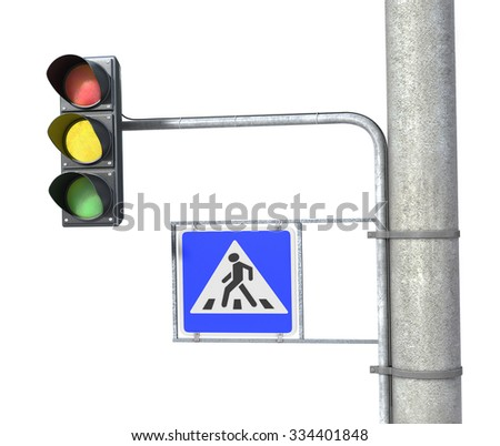 Traffic light and pedestrian sign