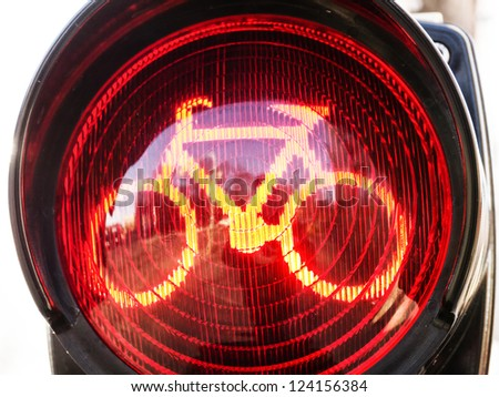 traffic light for bikes  in germany - stock photo