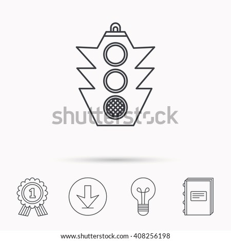Traffic light icon. Safety direction regulate sign. Download arrow, lamp, learn book and award medal icons. - stock photo