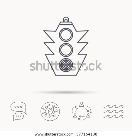 Traffic light icon. Safety direction regulate sign. Global connect network, ocean wave and chat dialog icons. Teamwork symbol. - stock photo