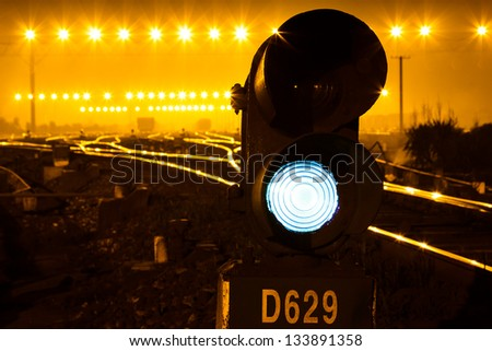 Traffic light in railroad - stock photo