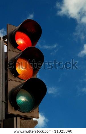 Traffic light in the sky - stock photo