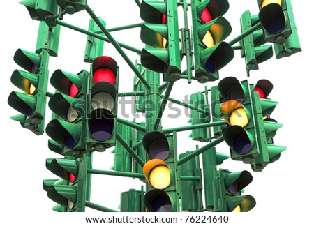 Traffic light isolated on the white background (Eilat. Israel) - stock photo