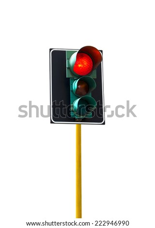 Traffic light isolated on white background is lit red
