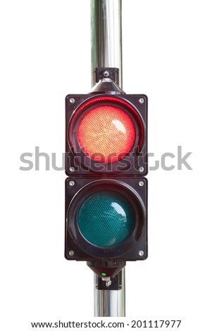 Traffic light isolated on white background (with clipping path)