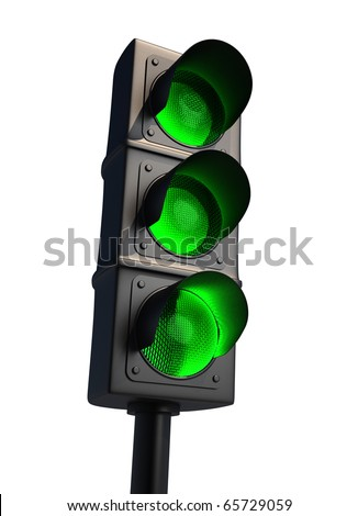 Traffic light isolated on white - 3d render - stock photo