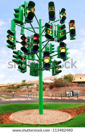 Traffic light. Last traffic light in Eilat (Israel). Eilat is a city without traffic lights. Instead of them - the squares. And it is a photo of the last traffic light of a city. - stock photo