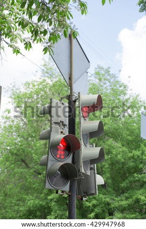 traffic light on the white background - stock photo