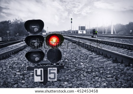 Traffic light shows red signal on railway. Prohibiting signal. Railway station. : train track lights - azcodes.com